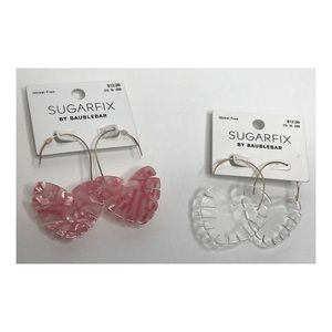 NWT Dangle Pink / Clear Heart Earrings Bundle